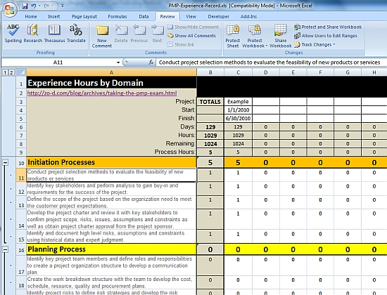 Project: PMP Certification Exam Experience Requirements Spreadsheet